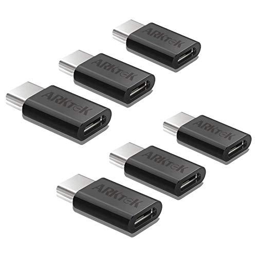 ARKTEK Adattatore da USB-C a Micro USB, USB Tipo C (Maschio, Fulmine 3) a Micro USB (Femmina) SYNC e Adattatore di Ricarica per MacBook Galaxy Note 9 Google Pixel 2 e Altro (Confezione da 6, Nero)