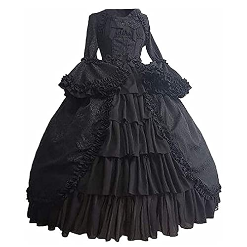 TMOYJPX Disfraz Vestido Mujer Medieval Gtico Palacio - Disfraces Medievales Princesa Reina Bruja, Vestidos de Fiesta para Mujer Tallas Grandes de Halloween (Negro, XXL)