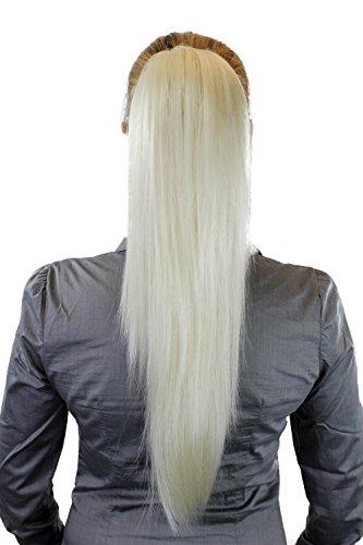 Postiche: Couette / queue de cheval volumineuse mais lisse, nouvelle attache avec mini pince papillon, blond presque blanc, 65 cm WK06-613