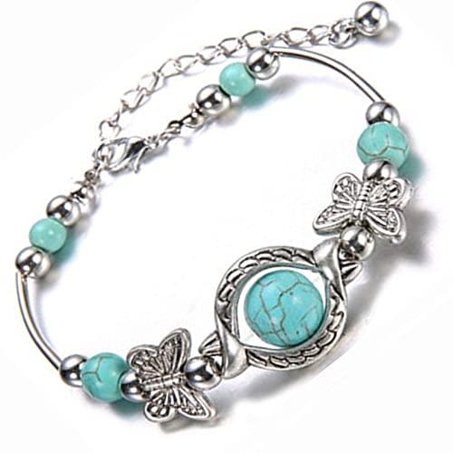 wgkgh Women's Retro Ethnic Style Bracelet Carved Butterfly Bracelets Boho Jewelry Bracelets Gifts for Family Friend