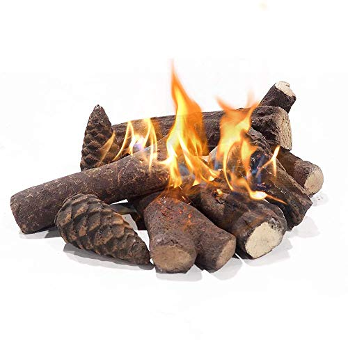 Gas Fireplace Logs, Ceramic Logs for Gas Fireplace, Ventless Fireplace Realistic Wood Deroration for...