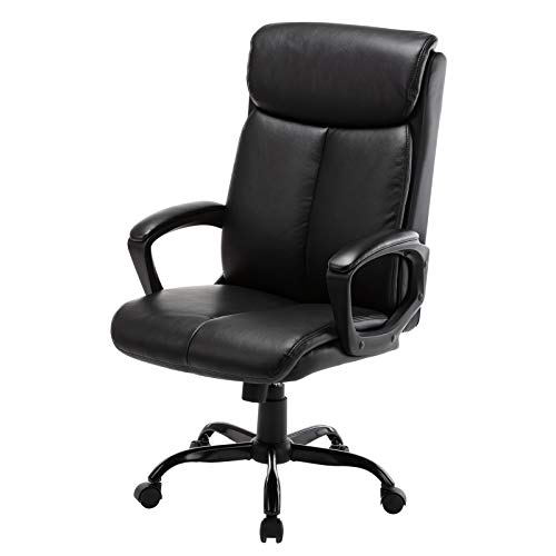 Modern Leather Office Chair -Executive Black Computer Desk Chair for Office Workers & Students Adjustable Swivel Task Chair High-Back