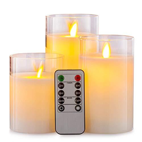Aku Tonpa LED Kerzen, Flammenlose Kerzen, 10 cm, 12,5 cm, 15 cm, Echtwachskerze, Stumpenkerze, Fernbedienung mit 10 Tasten, mit 24-Stunden-Zeitschaltuhr