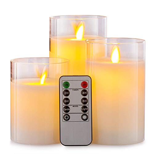 Aku Tonpa Flameless Candles Battery Operated Pillar Real Wax Flickering Moving Wick LED Glass Candle Sets with Remote Control Cycling 24 Hours Timer, 4' 5' 6' Pack of 3