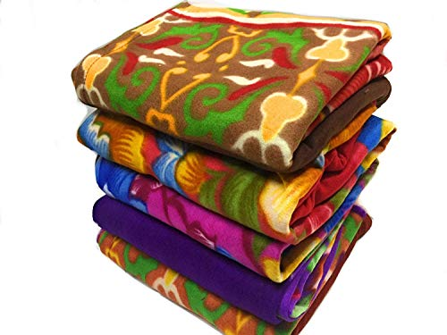Shivaan Home Furnishing Multipurpose Polar Fleece Single Printed Bed Fleece Blanket (Set of 4)-Assorted Multicolor(Light Weight)