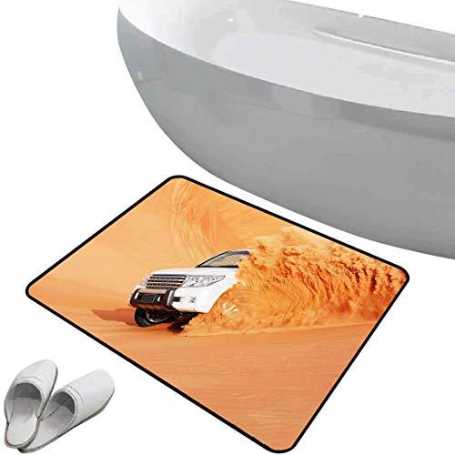 Alfombra de baño antideslizante de felpudo Desierto Alfombrilla goma antideslizante Camión de SUV Recoger un automóvil grande con ruedas enormes Conducir a través de Sand Hills,Indigo,,Interior/Exteri