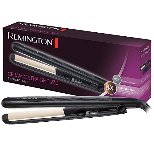 Remington Ceramic Slim S3500 - Plancha de Pelo, Ceramica Anti- estatica, Proteccion y Brillo, Placas Extra Largas, Negro