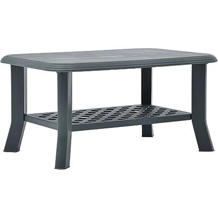 vidaXL Table basse résistante aux intempéries - En plastique - Vert - 90 x 60 x 46 cm