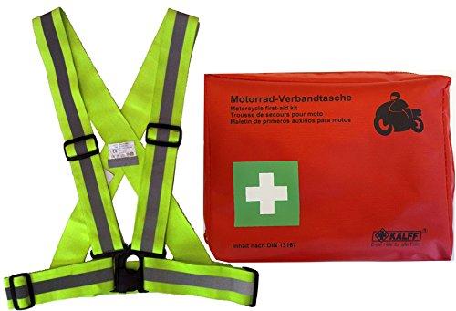 Kit di Pronto Soccorso Omologato DIN 13167 + Bretelle Rifrangenti Per Moto Omologate EN 471