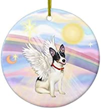 Christmas Decorations Indoor, 2020 Christmas Ornament Clouds Rat Terrier Angel Round Funny Xmas Gifts Holiday Home Decor -...