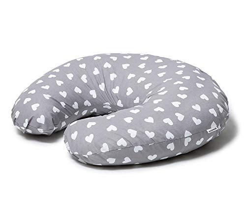 Niimo Cuscino allattamento Neonato + Federa 100% Cotone Sfoderabile e Lavabile con Zip a Scomparsa Facilita L'allattamento al seno o con il Biberon (Grigio-Cuori Bianchi)