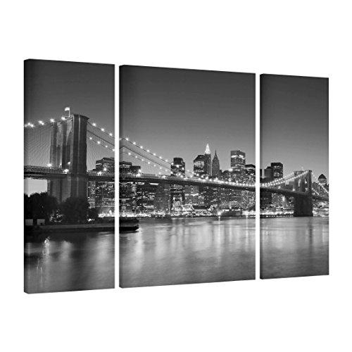 Bilderwelten Cuadro en Lienzo 3 Partes - Brooklyn Bridge In New York II - Tríptico, Cuadros Cuadro Lienzo Cuadro sobre Lienzo Moderno Decoracion Decorativos XXL, Tamaño: 80x30 80x60 80x30cm