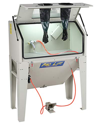 Pro-Lift-Werkzeuge Sandstrahlgerät 420 l Sandstrahlkabine Sandstrahler Frontklappe 420 Liter sand blaster Industriestrahler Beleuchtung