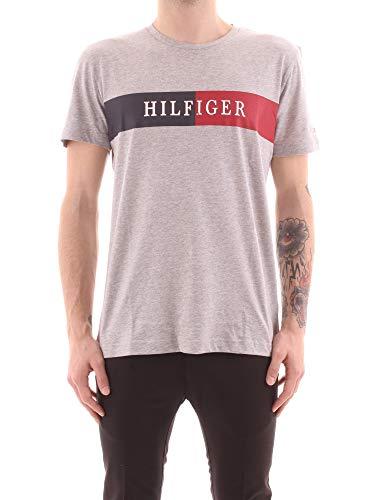 Tommy Hilfiger Block Stripe Hilfiger Tee T-Shirt de Sport, Gris (Medium Grey Heather), Small (Taille Fabricant:) Homme