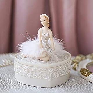 LBYLYH Home Decor Ornament Figurine Angel Heart Shaped Ballet Girl White Jewelry Box Super Fairy Girl Heart Princess Style Storage Box
