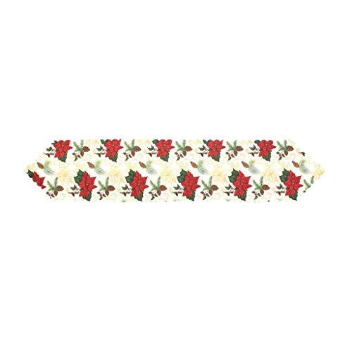 XHCP Camino de Mesa Mesa Bordada de Navidad Manteleria navidena para Decoraciones navidenas 178 * 35cm / 70 * 14in