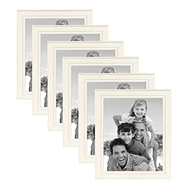 DesignOvation Kieva Solid Wood Picture Frame, Distressed Soft White 8x10, Pack of 6