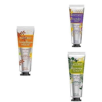 Burt's Bees Moisturising Botanical Blend Hand Cream Trio. Includes 3 luxurious scents: Lavender & Honey, Orange Blossom & Pistachio and Rosemary & Lemon from