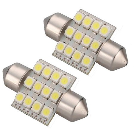2x C5W 12 LED SMD 31mm Plaque Ampoule Festons navette plafonnier Veilleuse voiture lumiere Xenon Blanc
