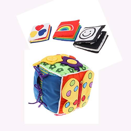 sharprepublic Juego de Libro de Tela Sensorial de Color Visual para Bebés, Juguete Educativo de Habilidades Básicas para La Vida
