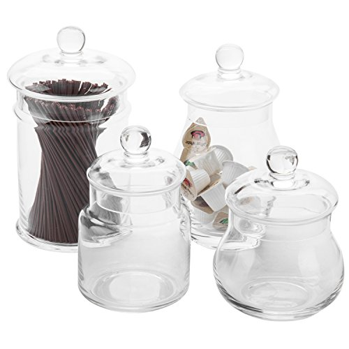 MyGift Set of 4 Clear Glass Apothecary Jars with Lids