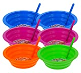 Arrow Sip-A-Bowl 6 Pack Set, Built-In Straw - 22-Ounce Reusable Bowls Stop Liquid Spills: Cereal Milk, Ice Cream - Makes Breakfast/Snack Time Easy - Dishwasher Safe - Blue, Pink, Green, and Orange