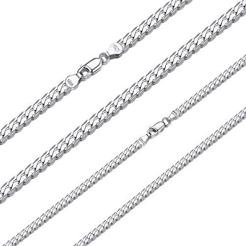 ChainsHouse Herren Halskette 3mm breit 55cm lang Platin Kubanische Halskette in Farbe Silber Männer Jungen Kette für Männer jeden Alter