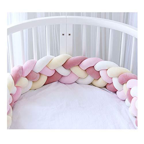 Bettumrandung,Baby Nestchen Kinderbett Stoßstange Weben Bettumrandung Kantenschutz Kopfschutz für Babybett Bettausstattung 220cm (Hellrosa + Rosa + Weiß + Gelb)