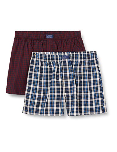 GANT Herren 2-P Box Short Check/Gingham Tunnel Boxershorts, Marine, XL