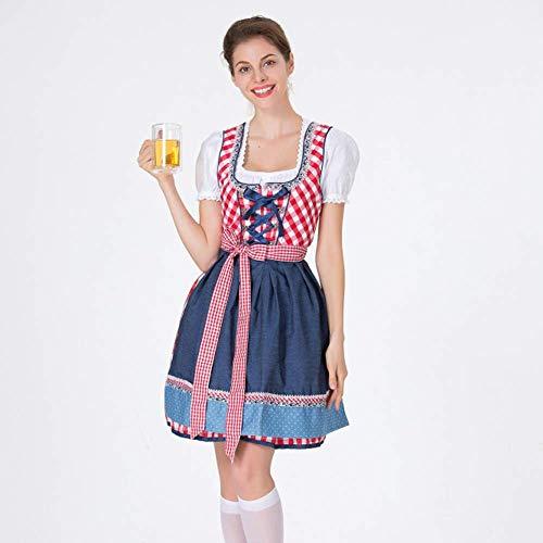 LLSS Disfraz de Oktoberfest Mujer Floryday Ropa Mujer Delantal de Vendaje Disfraces de Oktoberfest bvaro Vestido de Barmaid Dirndl (Top + Falda + Delantal) para Vestido