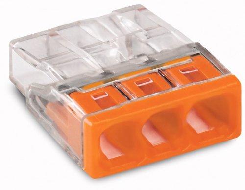 100 Stück Wago Verbindungsklemme 3 Leiter 0,5-2,5 qmm orange