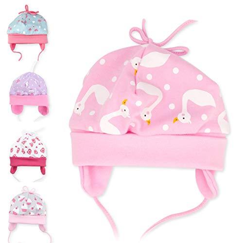 Baby Sweets Baby Sweets Baby Mütze Mädchen rosa   Motiv: Schwan   Babymütze zum Binden für Neugeborene & Kleinkinder   Größe: 1 Monat (56)?