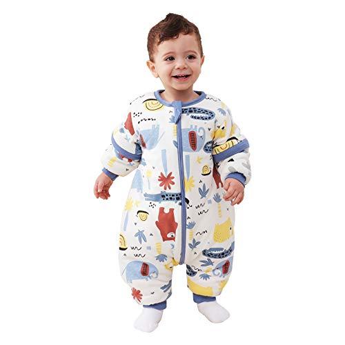 Baby Schlafsack mit Beinen Warm gefüttert winter kinder schlafsack abnehmbaren Ärmeln,Junge Mädchen Unisex Schlafanzug (Red Bear,18-36 Monate(baby height 85-95cm))