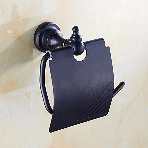 XY&XH Américaine Tout Noir Toilette de cuivre Rouleau Suspension de métal de Porte-Serviettes de Support, Taille: 126 * 118 (mm)