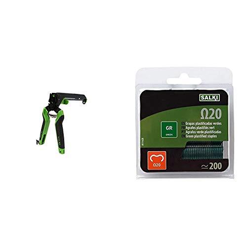 Salki 3301310.0 Alicate de Cercas para Vallado con Cargador para Omega 20 + 0111420 Caja de Grapas, Verde, Set de 200 Piezas
