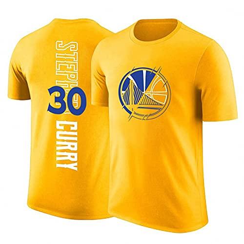 JFIOSD 2021 Hombre Basketball Jersey,NBA Warriors n#30 Curry Ropa de Baloncesto,Camisetas Al Aire Libre Casual Mujer Redondo CháNdales,Amarillo,XL
