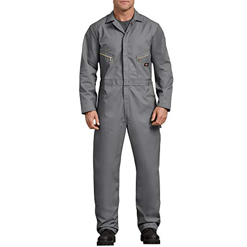 Dickies Men's 7 1/2 Ounce Twill Deluxe Long Sleeve Coverall, Gray, X-Large Regular