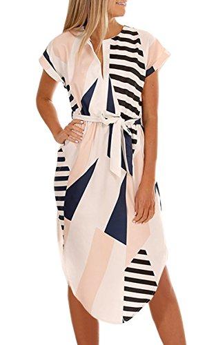 ECOWISH Sommerkleider Damen Kurzarm V-Ausschnitt Strand Blumen Kleider Abendkleid Knielang Beige M