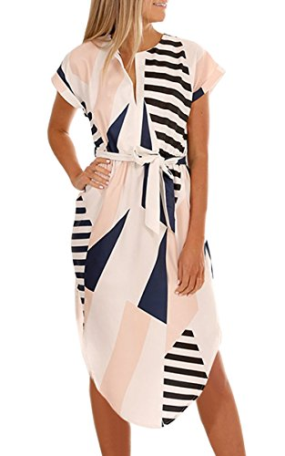 ECOWISH Sommerkleider Damen Kurzarm V-Ausschnitt Strand Blumen Kleider Abendkleid Knielang Beige 2XL