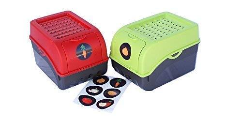 2 x Vorratsdose für Kartoffeln, Gemüse, Obst, Zwiebeln, Aufbewahrungsbox, Kunststoff, Volumen von 7,7 Liter, Größe ca. 29 x 19 x 19 cm (L x H x B) (Set 2 Boxen) (Grün und Rot)