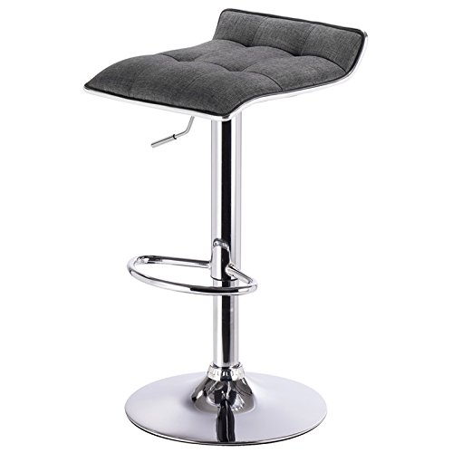 eSituro SBST0180 1 x Barhocker Küchenstuhl Barstuhl, höhenverstellbar & 360° drehbar, Bar Hocker aus hochwertigem Leinen, Dunkelgrau