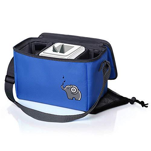 Musikbox-Tasche für Hörwürfel (z.B. Toniebox und Tigerbox Touch) in haiblau | Verstellbare Innenfächer | Netzbeutel für Zubehör (z.B. 10 Hörfiguren oder SD-Karten)