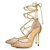 FSJ Women High Heel Ankle Strap Sandals Pointed Toe Rivets Pumps Lace Up Club Shoes with Crystal Studs Size 8 Gold-Lace UP