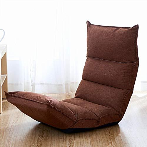 Dsrgwe Silla de Suelo Silla de Piso Acolchada Plegable con cojín de Asiento Grueso de 5 Posiciones Ajustable Lazy Sofa Gaming Meditation Camping Chair (Color : Brown)