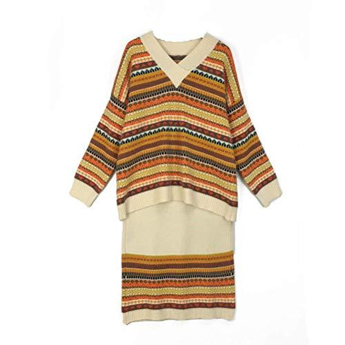 QiongXi Conjunto Con Cuello En V Suéter Mujer Otoño E Invierno Color Suelto Conjunto De Moda A Rayas Suéter De Puntobeige, Talla única