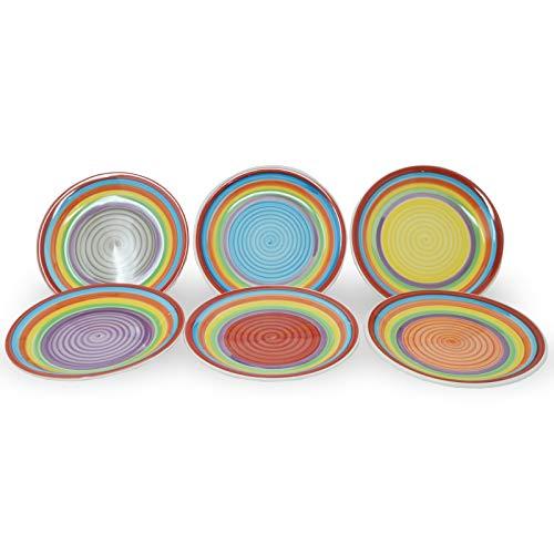 DRULINE Teller-Set Ibiza für 6 Personen | Kuchenteller Rund | Ø 19 cm | Kleine Dessert-Teller | Premium Steingut-Servierteller | Handbemalt | Mehrfarbig