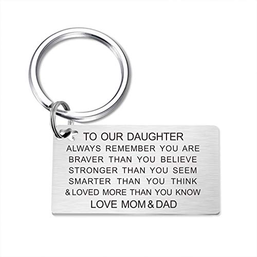 Daughter Keychain Birthday Gifts from Mom and Dad Inspirational Key...