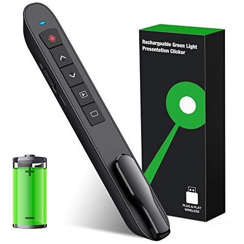 Presentation Clicker Laser Pointer, Wireless Presenter Remote with Green Laser Pointer, Rechargeable PowerPoint Clicker, RF 2.4GHz Presentation Pointer Slide Advancer with Hyperlink Volume Control