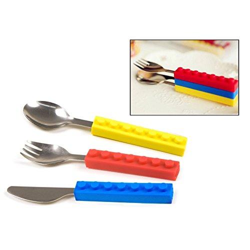 Itian® Cubertería con Forma de Piezas de Montar - Cuchillo, Cuchara y Tenedor, Silicona y Acero