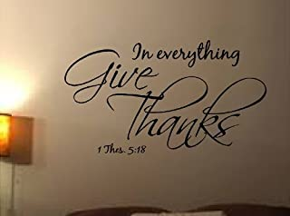 VINYL WALL DECAL IN EVERYTHING GIVE THANKS BIBLE QUOTE 1 THESSALONIANS 5:18